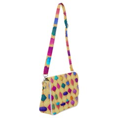 Colorful Background Stones Jewels Shoulder Bag With Back Zipper