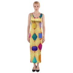 Colorful Background Stones Jewels Fitted Maxi Dress by HermanTelo