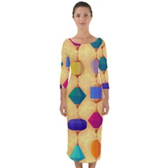 Colorful Background Stones Jewels Quarter Sleeve Midi Bodycon Dress by HermanTelo