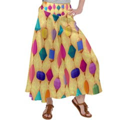 Colorful Background Stones Jewels Satin Palazzo Pants by HermanTelo