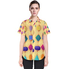 Colorful Background Stones Jewels Women s Short Sleeve Shirt by HermanTelo