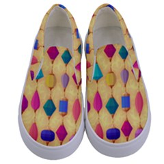 Colorful Background Stones Jewels Kids  Canvas Slip Ons