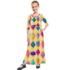 Colorful Background Stones Jewels Kids  Quarter Sleeve Maxi Dress by HermanTelo