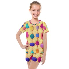 Colorful Background Stones Jewels Kids  Mesh Tee And Shorts Set by HermanTelo