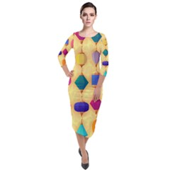 Colorful Background Stones Jewels Quarter Sleeve Midi Velour Bodycon Dress by HermanTelo