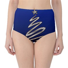 Christmas Tree Grey Blue Classic High Waist Bikini Bottoms