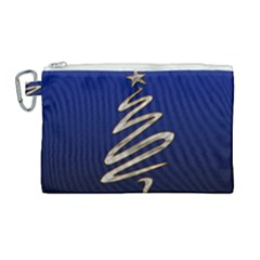 Christmas Tree Grey Blue Canvas Cosmetic Bag (large)