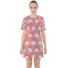 Colorful Background Abstract Sixties Short Sleeve Mini Dress