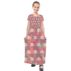 Colorful Background Abstract Kids  Short Sleeve Maxi Dress by HermanTelo