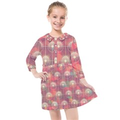 Colorful Background Abstract Kids  Quarter Sleeve Shirt Dress by HermanTelo