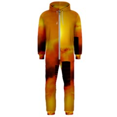 City Sun Clouds Smog Sky Yellow Hooded Jumpsuit (men)  by HermanTelo