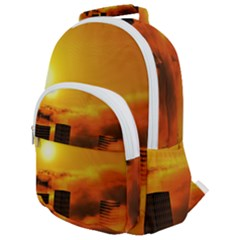City Sun Clouds Smog Sky Yellow Rounded Multi Pocket Backpack