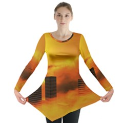 City Sun Clouds Smog Sky Yellow Long Sleeve Tunic