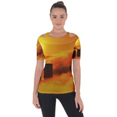 City Sun Clouds Smog Sky Yellow Shoulder Cut Out Short Sleeve Top
