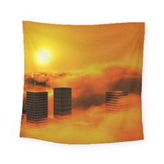 City Sun Clouds Smog Sky Yellow Square Tapestry (small) by HermanTelo