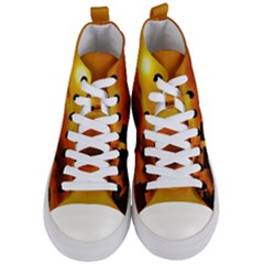 City Sun Clouds Smog Sky Yellow Women s Mid Top Canvas Sneakers