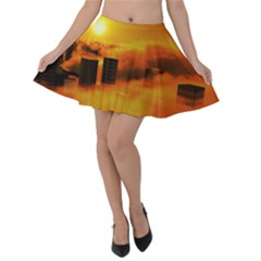 City Sun Clouds Smog Sky Yellow Velvet Skater Skirt