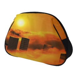City Sun Clouds Smog Sky Yellow Full Print Accessory Pouch (small)