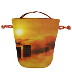 City Sun Clouds Smog Sky Yellow Drawstring Bucket Bag