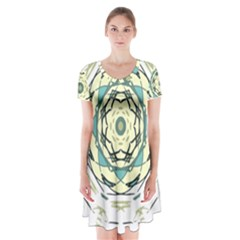 Circle Vector Background Abstract Short Sleeve V-neck Flare Dress