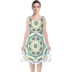 Circle Vector Background Abstract V Neck Midi Sleeveless Dress