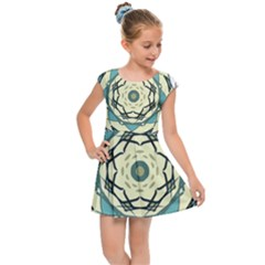 Circle Vector Background Abstract Kids  Cap Sleeve Dress by HermanTelo