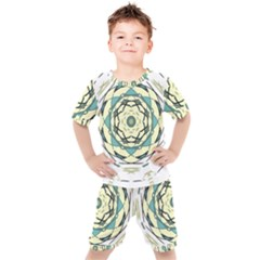 Circle Vector Background Abstract Kids  Tee And Shorts Set by HermanTelo
