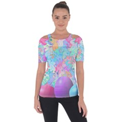 Eggs Happy Easter Rainbow Shoulder Cut Out Short Sleeve Top