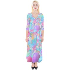 Eggs Happy Easter Rainbow Quarter Sleeve Wrap Maxi Dress by HermanTelo