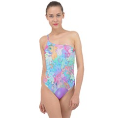 Eggs Happy Easter Rainbow Classic One Shoulder Swimsuit