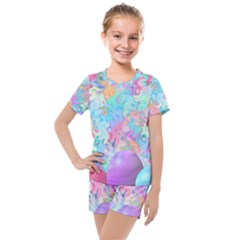 Eggs Happy Easter Rainbow Kids  Mesh Tee And Shorts Set by HermanTelo