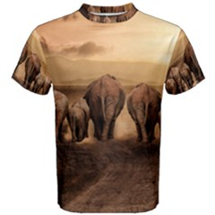Elephant Dust Road Africa Savannah Men s Cotton Tee