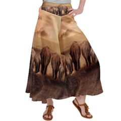 Elephant Dust Road Africa Savannah Satin Palazzo Pants