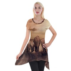 Elephant Dust Road Africa Savannah Short Sleeve Side Drop Tunic