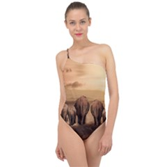 Elephant Dust Road Africa Savannah Classic One Shoulder Swimsuit by HermanTelo