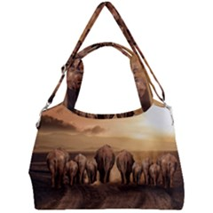 Elephant Dust Road Africa Savannah Double Compartment Shoulder Bag by HermanTelo