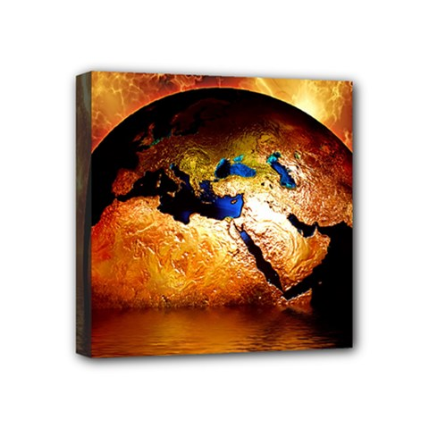 Earth Globe Water Fire Flame Mini Canvas 4  X 4  (stretched) by HermanTelo