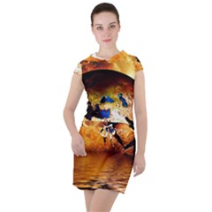 Earth Globe Water Fire Flame Drawstring Hooded Dress