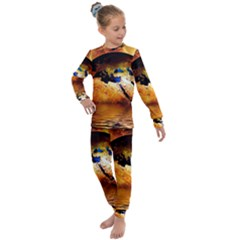 Earth Globe Water Fire Flame Kids  Long Sleeve Set  by HermanTelo