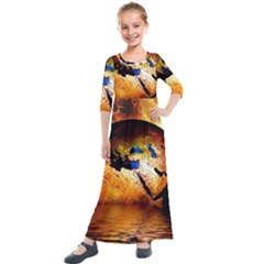 Earth Globe Water Fire Flame Kids  Quarter Sleeve Maxi Dress by HermanTelo