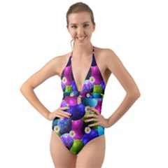 Eggs Happy Easter Halter Cut Out One Piece Swimsuit