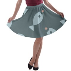 Fish Star Water Pattern A Line Skater Skirt