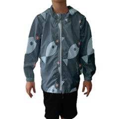 Fish Star Water Pattern Kids  Hooded Windbreaker