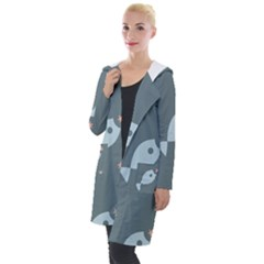 Fish Star Water Pattern Hooded Pocket Cardigan