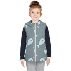 Fish Star Water Pattern Kids  Hooded Puffer Vest