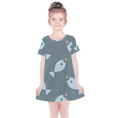 Fish Star Water Pattern Kids  Simple Cotton Dress by HermanTelo