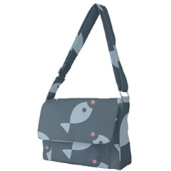 Fish Star Water Pattern Full Print Messenger Bag