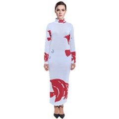 Fish Red Sea Water Swimming Turtleneck Maxi Dress by HermanTelo