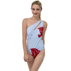 Fish Red Sea Water Swimming To One Side Swimsuit