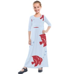 Fish Red Sea Water Swimming Kids  Quarter Sleeve Maxi Dress by HermanTelo
